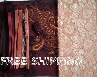 FREE Ship DIY Fabric + Notions Bordeaux & Ochre Paisley for 1 BRA + Panty by Merckwaerdigh