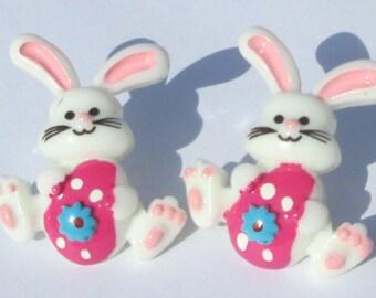 Easter Bunny Pierced Earrings pierced post hand made earrings by Ziporgiabella