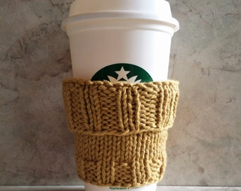 "Coffee Cup Cozy Sleeve  Handknit  Cotton Mustard Mug Cozy fits a ""Short"" or ""Grande""  Coffee Office Gift"