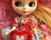 Reserved for Marzol..Blythe .. RED..Kewpie Bag for Blythe Dolls..handmade and Ooak!!.. free shipping!!