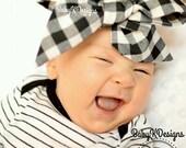 Baby Headwrap. Gingham Baby Head Wrap. Black White Red Checkered Cotton Headwrap. Newborn Headband. Baby Girl Bow Headband. Baby Photoprop