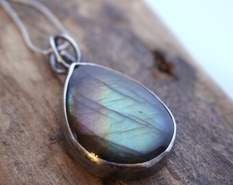 Labradorite Sterling Silver Necklace - Flashy Labradorite Jewelry