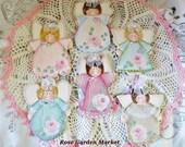 Angel Rose Ornament Set of Six, Hand Painted Set, Pink Roses, Pastel Dresses, Christmas Tree Ornaments, Shabby Chic, Gifts, Keepsakes, ECS