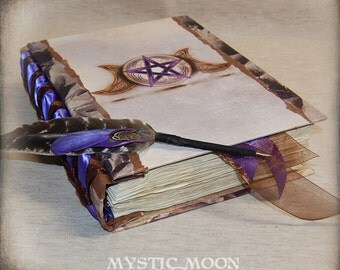 Earthly Amethyst / XL Book of Shadows Journal / Pentagram Book of Shadows / Book of Spells / Wicca / Wiccan / Pagan / Quill Pen / Pentacle