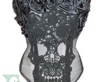 Lace Skull & Roses Mesh Corset, Custom Size