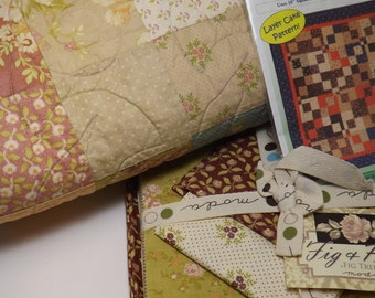 Moda Quilt Kit, Sewing Kit, Fig and Plum, Moda Fabrics, Modern Fabrics, Quilting Kit, Layer Cake Quilt Kit, Home Decor, Precut Kit, Floral
