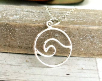 Wave necklace - beach - nautical jewelry gift for women- ocean - wave - vacation - travel jewelry - wanderlust - paradise - sterling silver