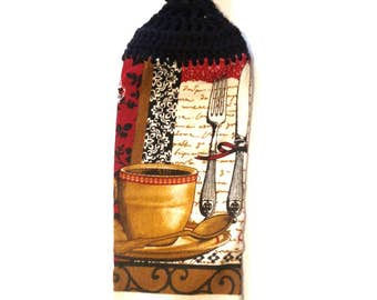 Coffee And Spoon Hand Towel With Black Crocheted Top