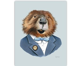 Beaver art print 5x7