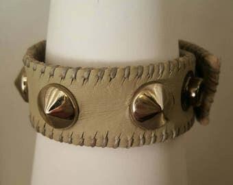 Pale, plush, smokey, robin's gray, leather stud, snap bracelet