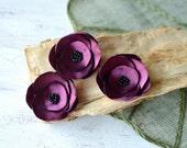 Satin fabric flowers, silk flower appliques, small satin roses, tiny wedding flowers, bulk flower embellishments (3pcs)- CRANBERRY ROSES