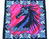 Bob Mackie Silk Scarf Black Stallion Wearable Art Extra Large 40 Inches Square
