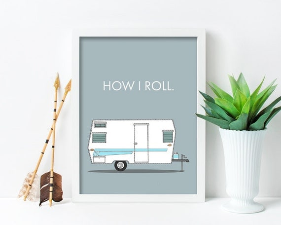 "framed wall art, framed art prints, large framed art, large framed wall art, wall art prints, colorful, retro camper, campers - ""How I Roll"""
