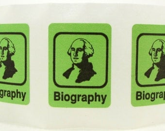 20 Book Spine Stickers - Library Stickers - genre labels - Library Supplies - classification - biography - george washington