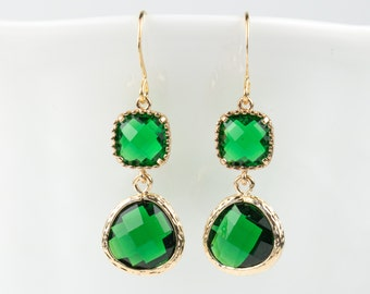 Long Emerald Gold Earrings, May Birthstone Gold Earrings, May Emerald Earrings, May Birthstone Jewelry, Bridesmaid Earrings