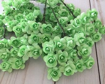 120 Mint Green Paper Flowers - mini - Wedding Invitations scrapbooking paper goods