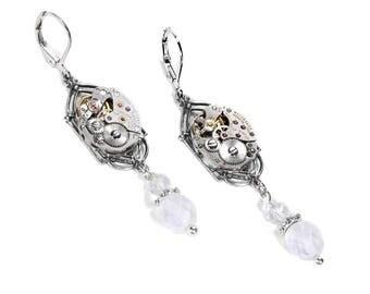 Steampunk Jewelry Steampunk Earrings Vintage Silver ART DECO Watch White Frost Crystal Dangle Earrings Mothers Day - Jewelry by edmdesigns