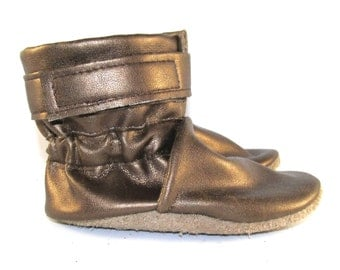 Soft Sole, Gold Metallic Faux Leather, Baby Girl Boots, Slip On, 12 to 18 Month