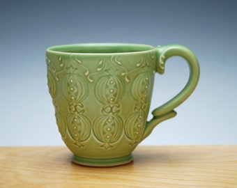 Spring green mug w. Pomegranates, Victorian modern stamped handmade cup