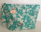 Coral Bird Print Knitting Project Bag