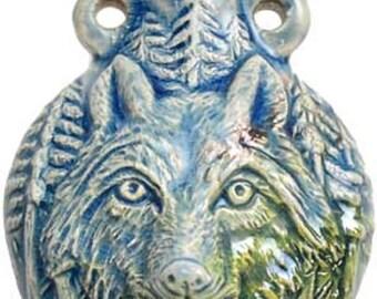 Wolf Raku Oil Bottle-Spell bottles, oil spell necklaces, oil bottle necklace,oil lockets, oil bottles for spells, witchcraft oil spells for,