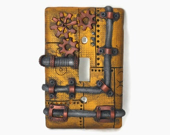 Steampunk Switch Plate, Steampunk Light Switch Plate, Light Switch Cover,  Steampunk Art