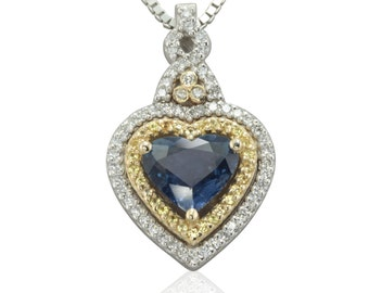 Blue Sapphire Heart Pendant with Yellow Sapphire and Diamond Double Halo - Duchess Collection - LS1598
