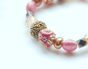 Pink and Brown Bracelet, Pink and Gold Beaded Bracelet, Holiday Jewelry, Stretch Bracelet, Hot Pink, Ornate Bracelet, Sparkly Jewelry