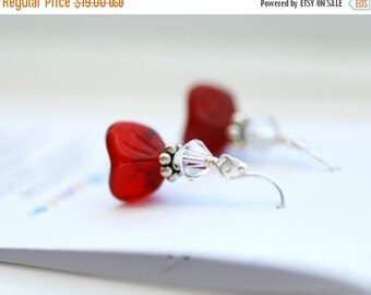 Glass Dangle Earrings, Ruby Red Glass Flowers, Swarovski Crystal Elements and Sterling Silver - Hearts and Flowers