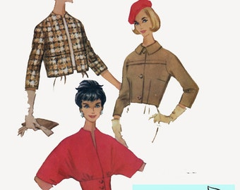 Vintage 60s Dolman Sleeved Cropped Jacket or Fitted midriff Cardigan Pattern McCalls 5336 Vintage 60s Sewing Pattern Size 12 Bust 32 UNCUT
