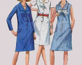 Vintage MOD Sheath Step-In Dress Sewing Pattern Simplicity 7449 60s Sewing Pattern Plus Half Size 20.5 Bust 43 UNCUT