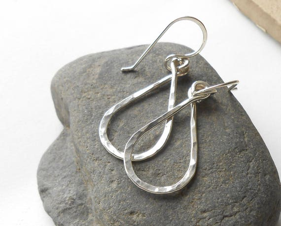 Sterling Silver Dangle Drop Earrings, Silver Teardrops