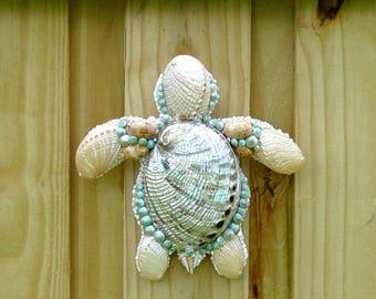 Sea Turtle Wall Art, Sea Shells Pearl Abalone Shells on Turtle Wall Sculpture,  Shell Wall Hanging, Coastal Beach Decor Turtle, OOAK Turtle
