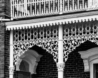 White Victorian Lace, ornate ironwork on an old Victorian house, black and white photograph, architectural detail photo, fine art photo