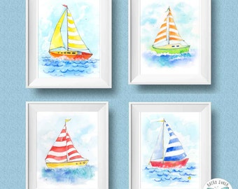 Sailboats Nursery Prints - Sailboat Nursery - Sailboat Wall Art - Kids Nautical Art - Watercolor Sailboats - Nautical Nursery - set of 4