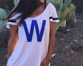 W Flag.  Wide or Off the Shoulder Flutter Sleeved Sport Striped Tee. Made in the USA.  8 Colors to Choose From.