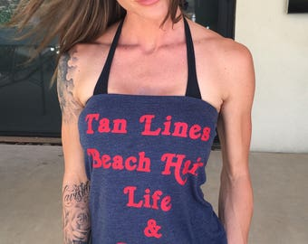 Tan Lines Beach Hair Life & Liberty. Women's Tube Top. Summer T-shirt Tube Top. Several Colors.  100% Made in the USA.  4th of July Shirt.