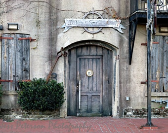 Old Savannah Art,  Door Photos, Historic Riverfront Building Print, Urban Decay Print, Rustic Southern Home Decor, Gray Brick Red Decor