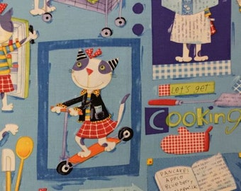 "Cat fabric - Nancy Wolff a Design - Cats - ""Let's get COOKInG"" - OOP"