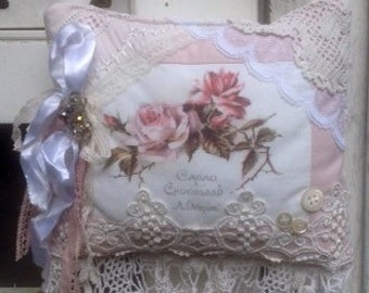 Shabby French Fresh Lavender Sachet Pink Roses Lace Tail