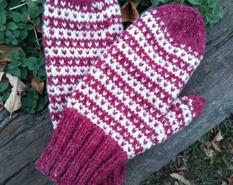 Hand knit Wool New England mittens for women who love warm hands.