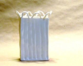 White Ceramic Rectangular Vase with Loopy Edge