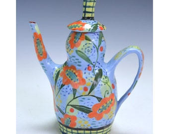 Teapot, Blue with Sunflower.