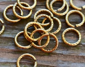 9mm Textured Round Jumprings Antique Gold Pick Your Own Bulk Price