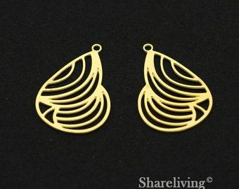 Exclusive - 10pcs Raw Brass Teardrop Charm / Pendant,  Filigree Teardrop , Fit For Necklace, Earring, Brooch  - TG310