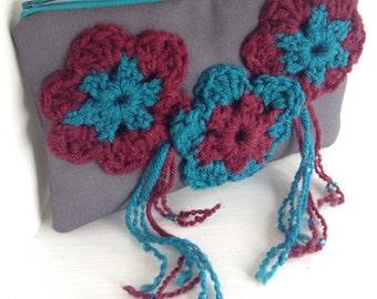 Gift for her Clutch purse fringe handbags, zipper purse fabric handbags, clutch bag purses and handbags evening bag, crochet clutch