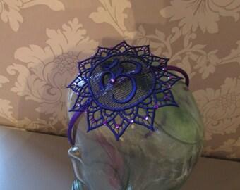 Purple Ohm Satin Headband with Diamantes