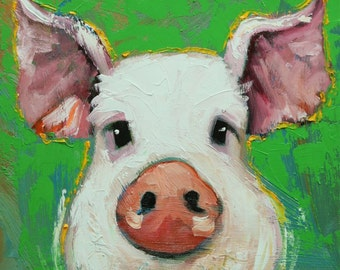 Pig painting 248 12x12 inch original oil painting by Roz