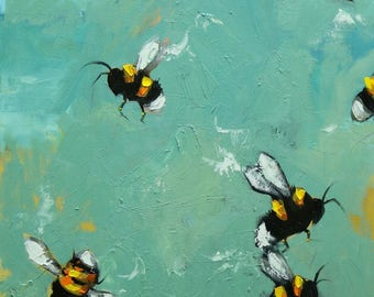 Bee painting 393 16x20 inch insect animal portrait original oil painting by Roz