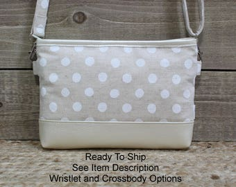 iPhone Crossbody Purse, READY TO SHIP, Cell Phone Wristlet Clutch, Samsung Galaxy Note, Cell Phone Purse Clutch, Natural Linen Dots